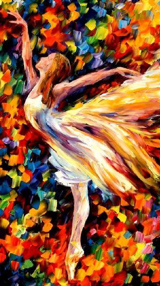Обои на телефон танец, рисунки, арт, leonid afremov, ballet dancer, ballet, art