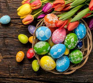 Обои на телефон яйца, тюльпаны, пасхальные, праздник, красочные, весна