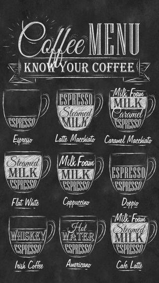 Обои на телефон знать, кофе, menu, ingredients
