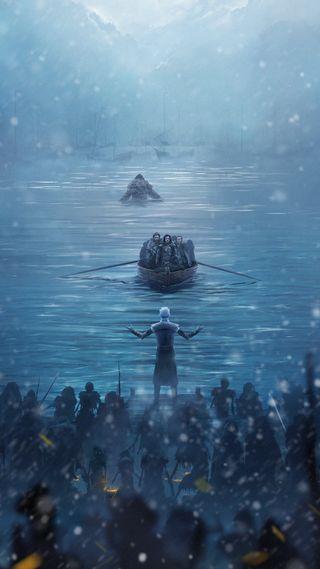 Обои на телефон престолы, снег, король, игра, белые, walker, jon