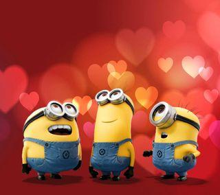 Обои на телефон валентинки, сердце, светящиеся, миньоны, милые, любовь, красые, боке, minion hearts, love