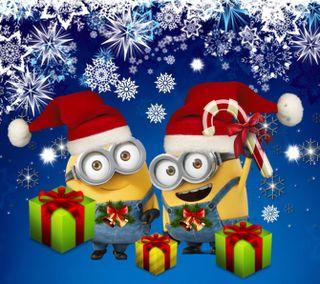 Обои на телефон счастливое, рождество, миньоны, друзья, 2160x1920px