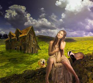 Обои на телефон страна, пейзаж, девушки, country girl