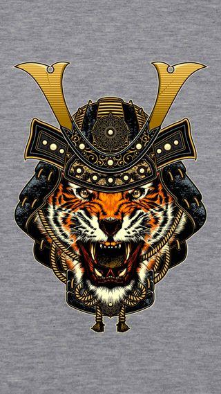 Обои на телефон самурай, тигр, 1080x1920