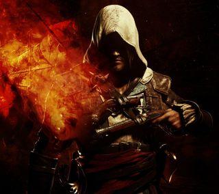 Обои на телефон киллер, черные, флаг, пираты, огонь, крид, ассасин, assassins creed 4