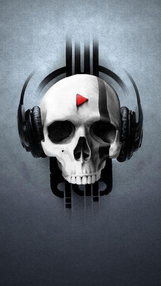 Обои на телефон анимационные, череп, серые, музыка