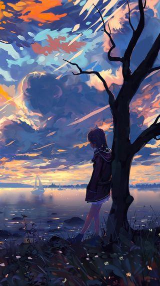 Обои на телефон река, один, небо, манга, river sky