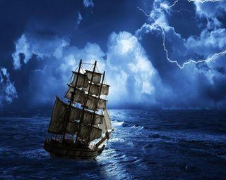 Обои на телефон штормовой, гром, шторм, океан, море, корабли