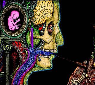 Обои на телефон скелет, череп, мозг, дым, smoker, pipe