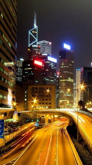 Обои на телефон дороги, пейзаж, огни, ночь, город, city in night