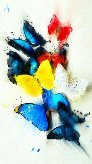 Обои на телефон синие, красые, желтые, бабочки