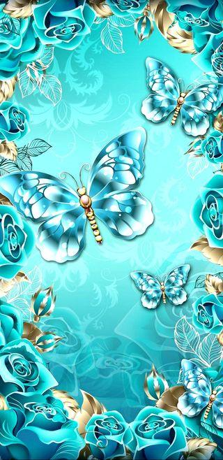 Обои на телефон девчачие, цветы, цветочные, симпатичные, розы, кристалл, золотые, бирюзовые, бабочки, crystal butterfly