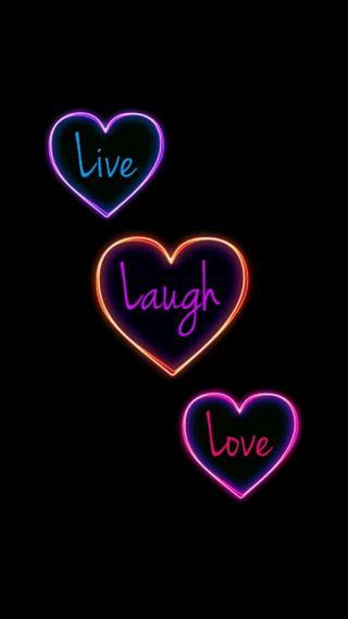 Обои на телефон смех, цитата, счастье, сердце, радуга, простые, неоновые, любовь, красочные, love, live