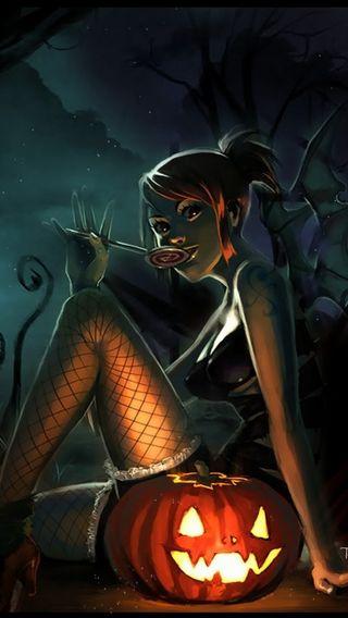Обои на телефон тыква, хэллоуин, счастливые, призрак, ночь, девушки, happy, ghost