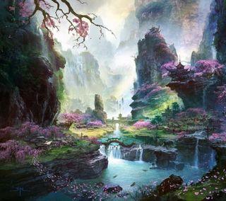 Обои на телефон вишня, цветные, цвести, розовые, лепестки, долина, valley of colors, pink petals, cherry blossom, cherry blooms valley