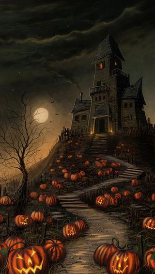Обои на телефон тыква, хэллоуин, дом, haunted house