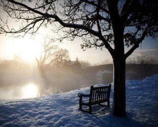 Обои на телефон одинокий, снег, скамейка, озеро, мост, зима, дом, дерево, грустные