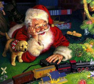 Обои на телефон счастливое, санта, рождество, подарок
