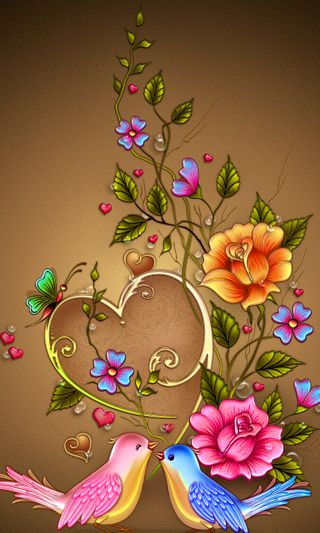 Обои на телефон птицы, цветы, цветочные, сердце, любовь, красочные, love, abstract6