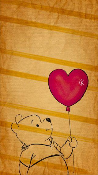 Обои на телефон пух, сердце, медведь, мед, любовь, воздушный шар, love
