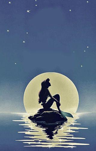 Обои на телефон русалка, погода, огни, луна, звезда, закат, дисней, mermaid moon, disney