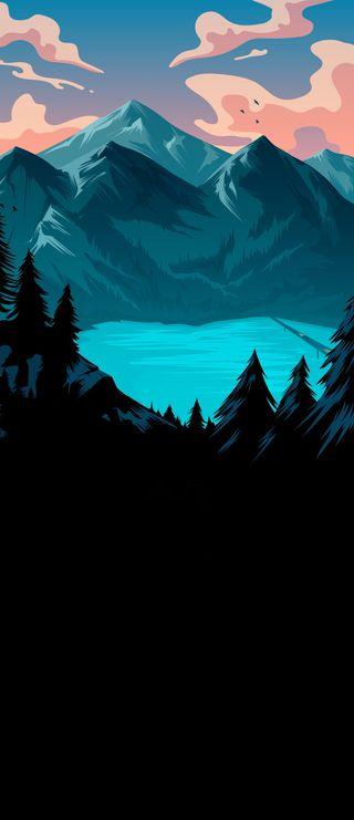 Обои на телефон парк, темные, сцена, синие, озеро, небо, закат, деревья, горы, амолед, amoled