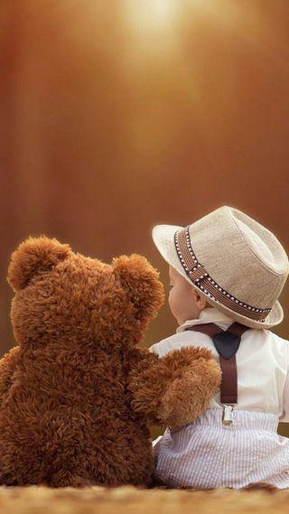 Обои на телефон медведь, милые, малыш, игрушка, друг, вещи, bear and baby