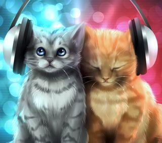 Обои на телефон наушники, музыка, кошки, котята