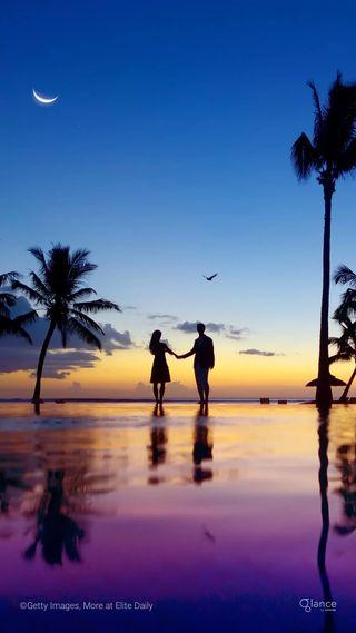 Обои на телефон восход, тропические, пляж, пейзаж, пара, океан, море, любовь, луна, закат, love