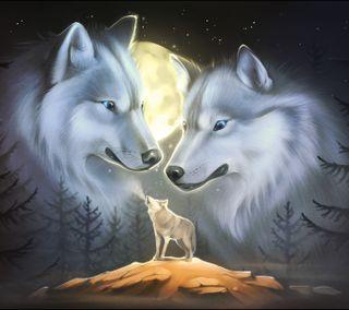 Обои на телефон луна, волк