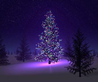 Обои на телефон огни, снег, рождество, ночь, неоновые, дерево