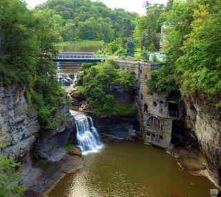 Обои на телефон водопад, пейзаж, вода, cascade