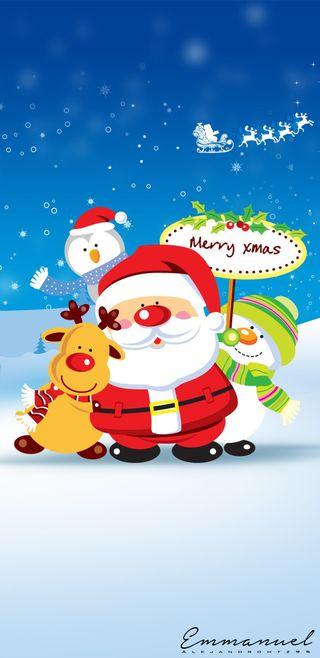 Обои на телефон снеговик, санта, рождество