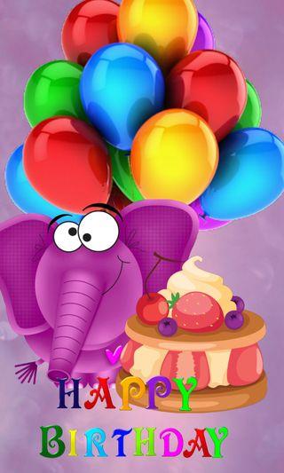 Обои на телефон слон, шары, торт, счастливые, день рождения, birthday cake