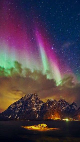 Обои на телефон аврора, природа, небо, горы, aurora hd