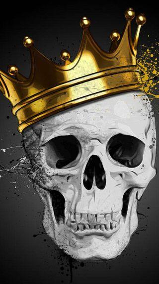 Обои на телефон корона, череп, мертвый, король, золотые