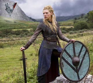Обои на телефон викинги, щит, меч, история, галактика, андроид, lagertha - vikings, lagertha, galaxy, android