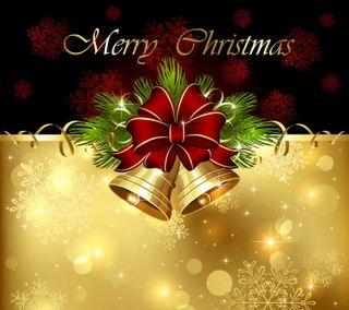Обои на телефон лук, украшение, счастливое, рождество, золотые, bells