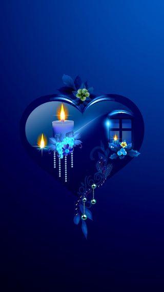 Обои на телефон синие, сердце, свеча, дизайн