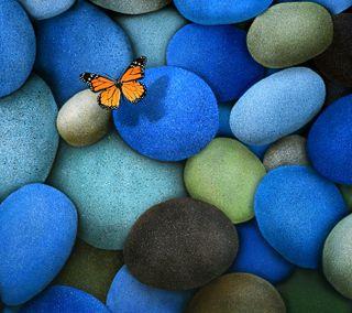 Обои на телефон камни, бабочки, stones and butterfly