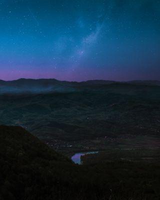 Обои на телефон холм, цветные, темные, пейзаж, небо, звезды, галактика, hillsky, hd, galaxy