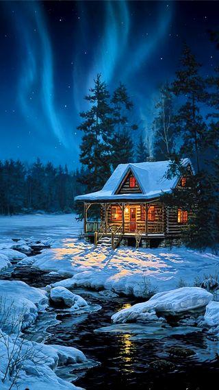 Обои на телефон зима, дом