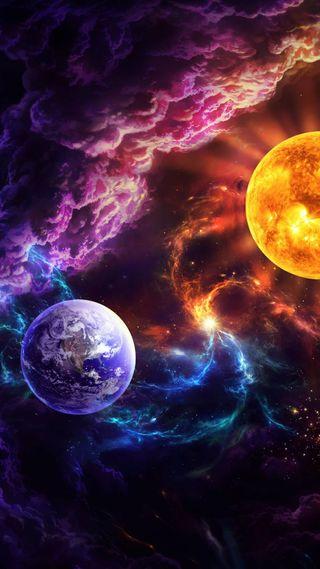 Обои на телефон планета, шаблон, туманность, темные, синие, радуга, планеты, космос, звезда, salvation
