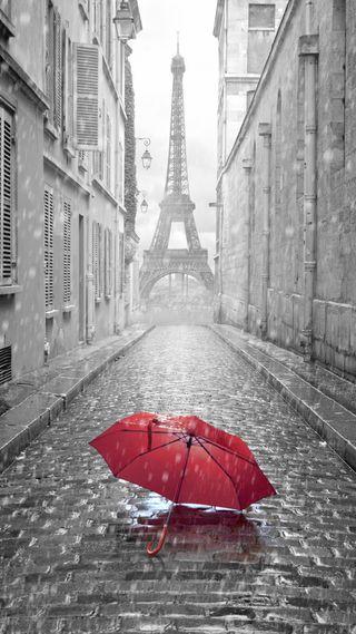Обои на телефон париж, дождь