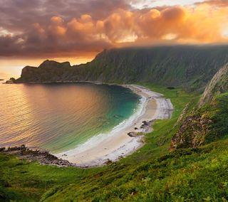Обои на телефон берег, пляж, океан, море, закат, shoreline sunset