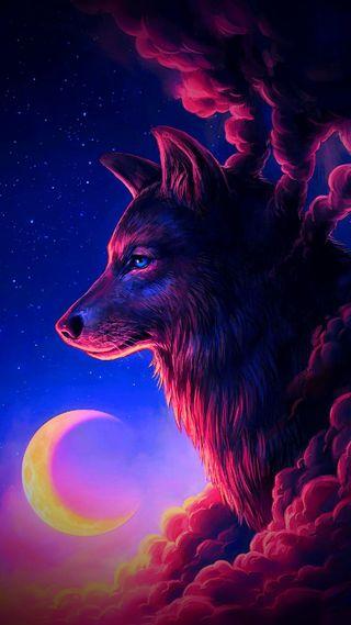 Обои на телефон шторм, облака, волк