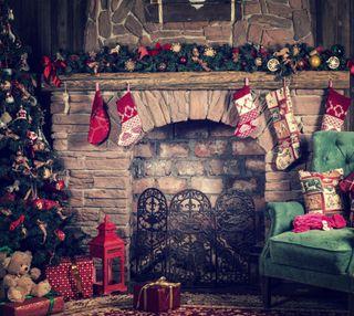 Обои на телефон украшения, украшение, дерево, рождество, fireplace, christmas decorations