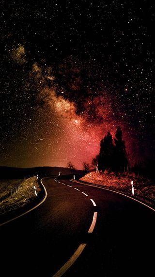Обои на телефон сияние, пейзаж, ночь, небо, дорога, галактика, вечность, бесконечность, аврора, infinity, galaxy