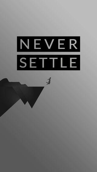Обои на телефон цитата, формы, утес, серые, решить, простые, никогда, минималистичные, материал, высказывания, oneplus, never settle cliff, never settle