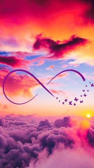 Обои на телефон бесконечность, небо, бабочки, infinity